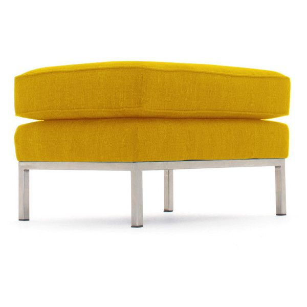 Joybird Franklin Mid Century Modern Yellow Ottoman ($699) ❤ Liked On  Polyvore Featuring Home