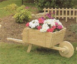 Amish Pine Wood Outdoor Country Wheelbarrow Planter