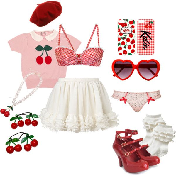 Cherry on Top by ricehime on Polyvore featuring Betsey Johnson, L'Agent By Agent Provocateur, Vivienne Westwood and Old Navy
