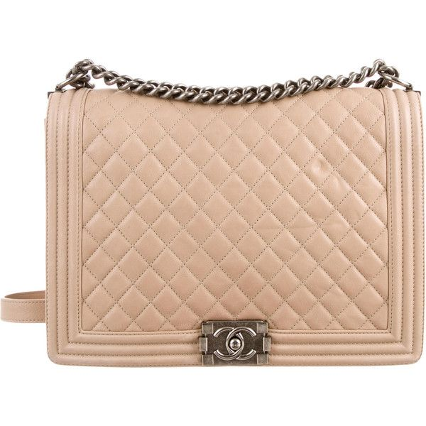 Chanel Large Quilted Boy Bag found on Polyvore featuring bags, handbags, shoulder bags, purses, neutrals, chanel handbags, man bag, handbags shoulder bags, handbags purses and quilted leather handbags