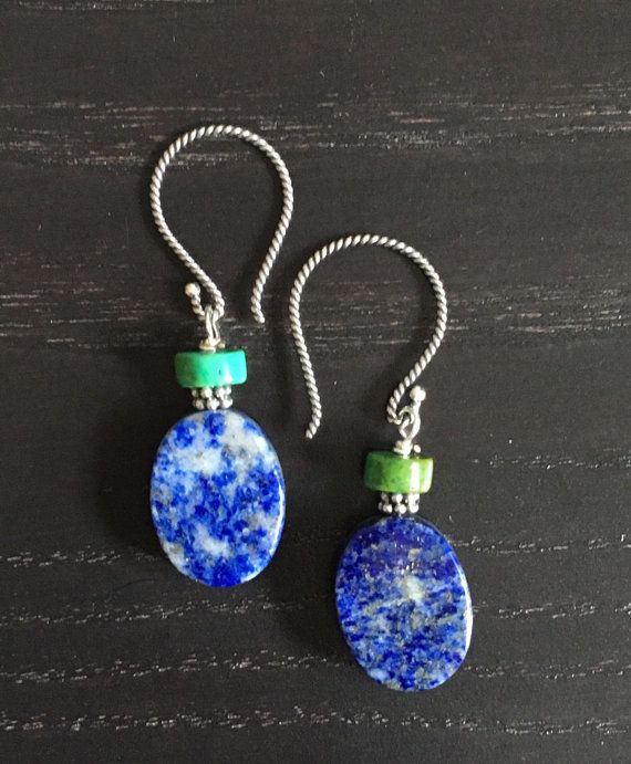 Sterling silver drop earring lapis lazuli/ turquoise  by Theshobs