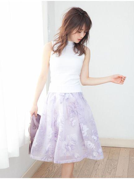 オーガンジーフラワーフレアミディスカート(膝丈スカート)|Color(カラー)|ファッション通販 - ファッションウォーカー