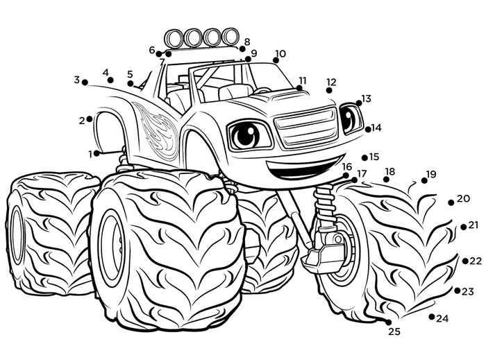 Blaze And The Monster Machines Connect The Dots Coloring Page