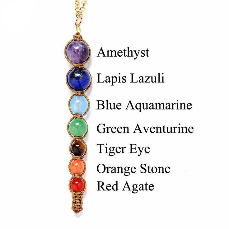 7 Chakra Energy Healing Reiki Pendant Necklace - Natural Stone Beads Hand woven - #chakras #reiki #healing