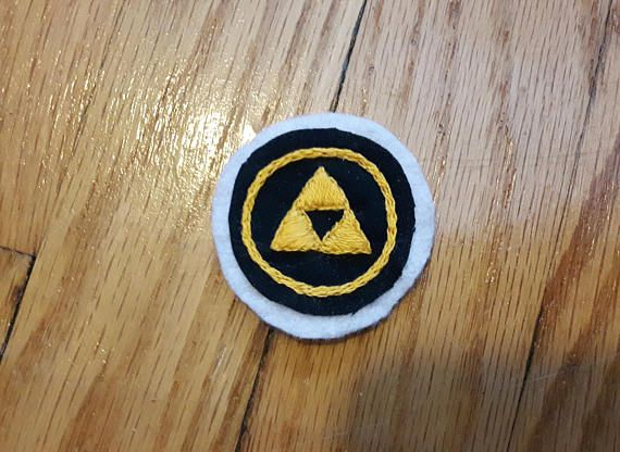 Hand embroidered patch. Legend of Zelda triforce merit badge. Sew on patches for jackets. Nerd patch. Punk patch. Nerdy Gifts Video Game art
