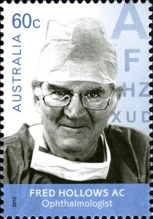 Fred Hollows (1929-1993) was a passionate ophthalmologist who became known for his work helping restore the eyesight of countless thousands of people in developing countries and his passionate plight to improve indigenous health here in Australia. It has been estimated that through the initiatives of Fred Hollows, over one million people have had their sight restored around the world. A true blue hero.