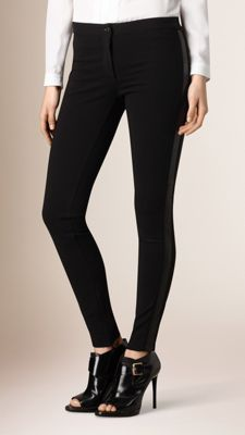 Skinny Fit Leather Panel Leggings