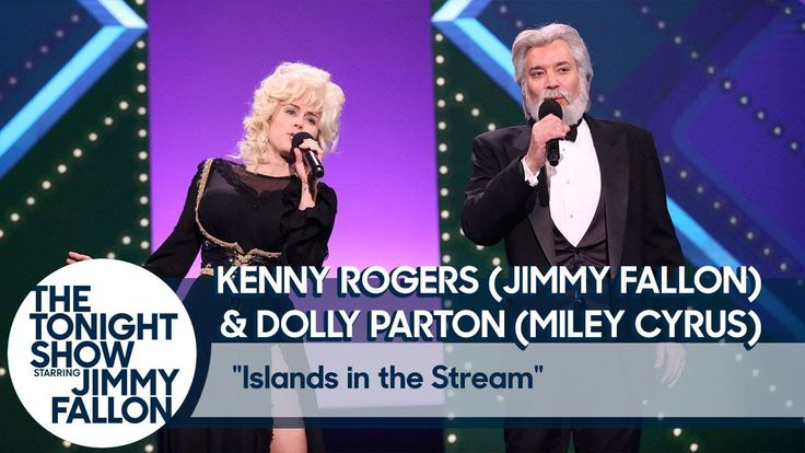 "Jimmy Fallon and Miley Cyrus Recreate Kenny Rogers and Dolly Parton's ""Islands in the Stream"" - YouTube"