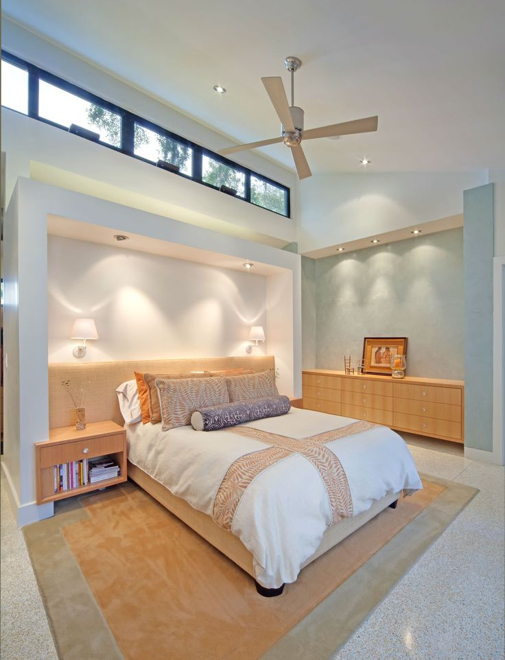Bedroom: Tray Ceiling With Chandelier And Sheer Curtain Also Blue Wall With Dressers And Bedroom Bench Plus Beige Armchair And Ottoman With Upholstered Headboard For Coastal Bedroom Designs
