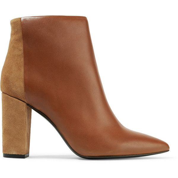 IRO - Paneled Leather And Suede Ankle Boots ($180) ❤ liked on Polyvore featuring shoes, boots, ankle booties, tan, high heel bootie, leather bootie, pointed-toe ankle boots, pointy-toe ankle boots and high heel booties