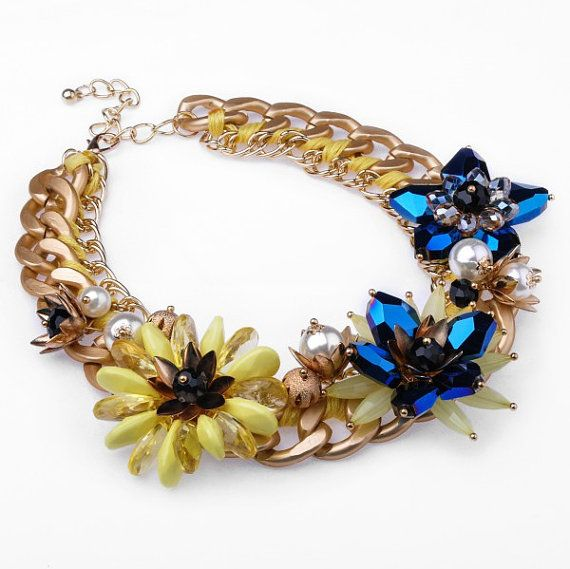 FJ Fashion Gold Chain Blue Crystal Flower by Glamorosajewelry