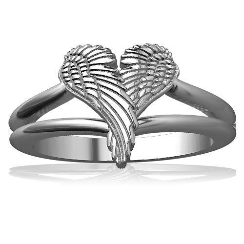 Winged Love, Angel Heart Wings Ring, 11.5mm in 10k Gold Winged Love. $399.95
