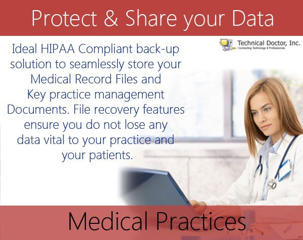 Ideal HIPAA Compliant back-up solution to seamlessly store your Medical Record Files and Key practice management documents. File recovery features ensure you do not lose any data vital to your practice and your patients.