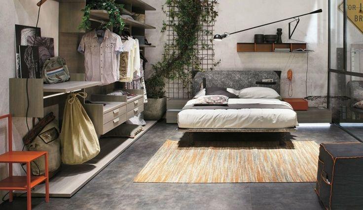 estanterías para colgar la ropa en el dormitorio moderno