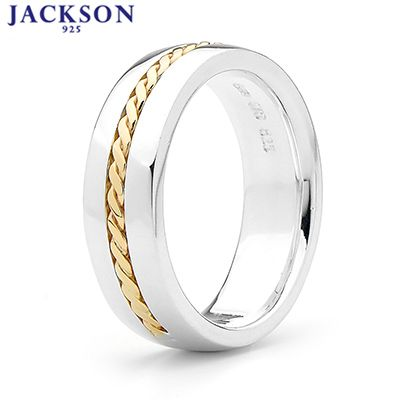 J10 - Silver Gent's Ring with 9 Carat Gold Braid - Size U
