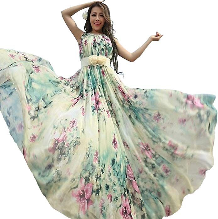 bc3297af94 Medeshe Women's Chiffon Floral Holiday Beach Bridesmaid Maxi Dress Sundress  (US Size 16-20; Length-125cm, Watery Green Floral)