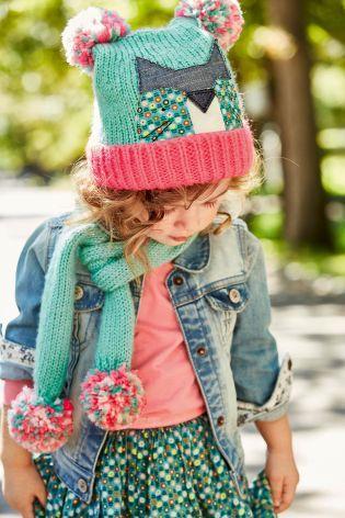 Kúpiť Mätovozelená súprava čiapky s mačičkou, šálu a rukavíc (Mladšie dievčatá)…