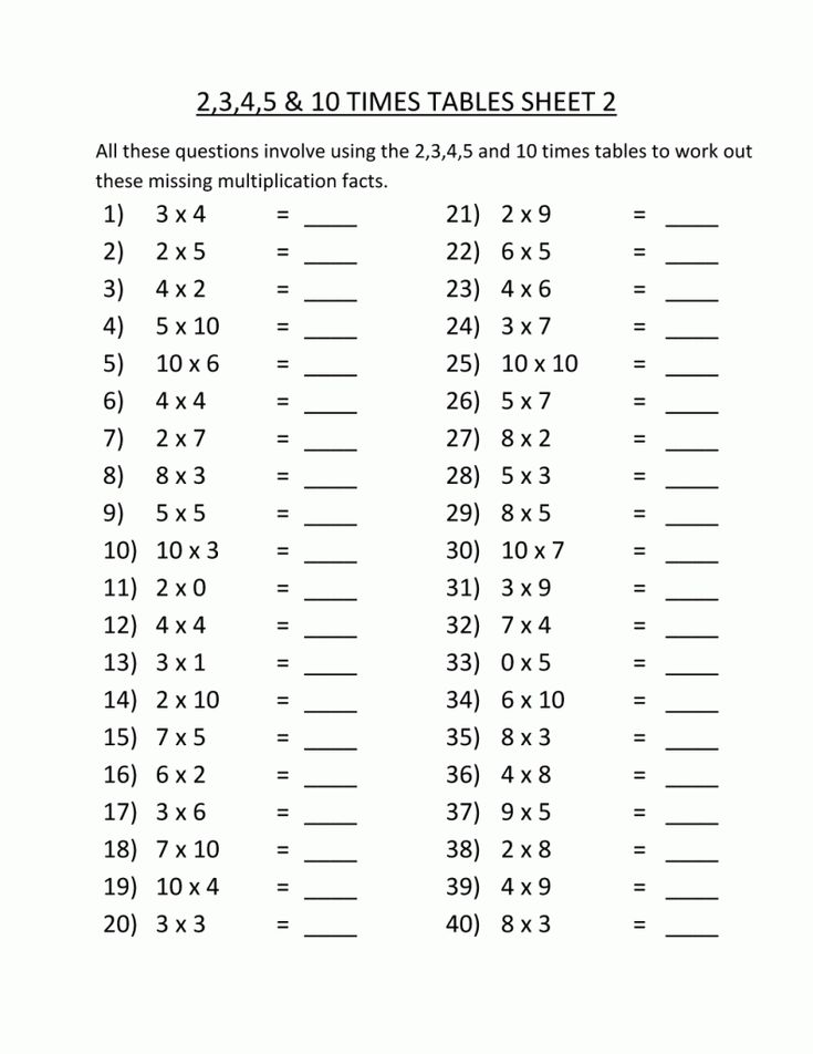3rd Grade Multiplication Worksheets Printable