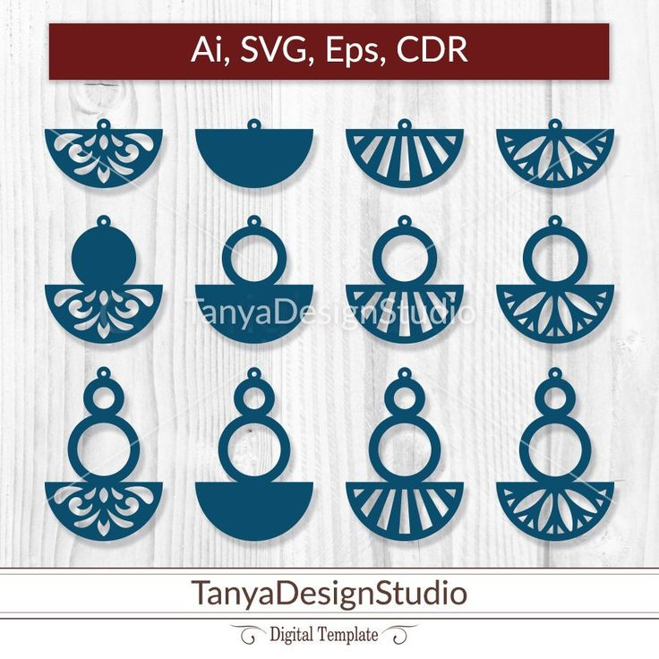 SVG, ai, CDR, eps - Leather Wooden jewellery - Leather earrings - Wooden earrings - Laser cut - Cutting File - Cricut - Silhouette - 032 by TanyaDesignStudio on Etsy
