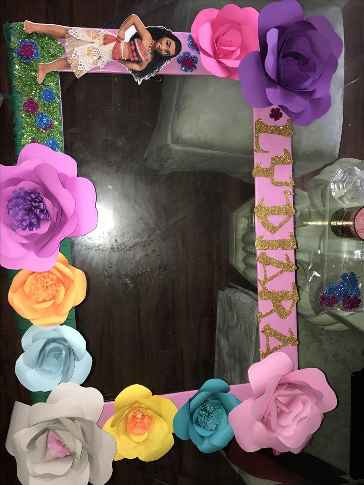 Moana Selfie Frame Diy Paper Flowers Diy In 2019 Moana