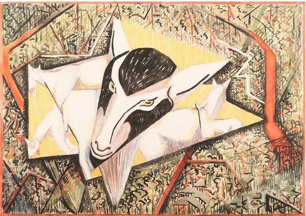 #Edith #Lawrence #Billy #Goats Grazing in Woodland  #Pencil and #gouache #art #modern #Britishart #LLFA #animal