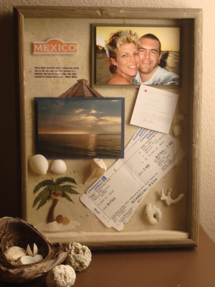 Shadow box from vacation, easy way to display without making a scrapbook!