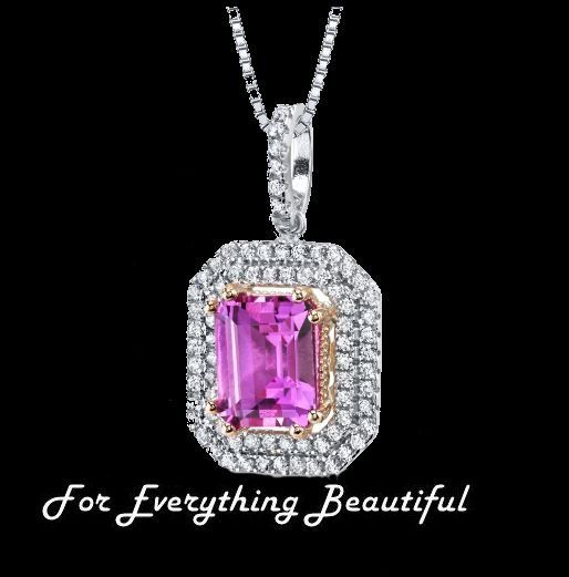 Pink Sapphire Emerald Cut Cubic Zirconia Double Framed Sterling Silver Pendant