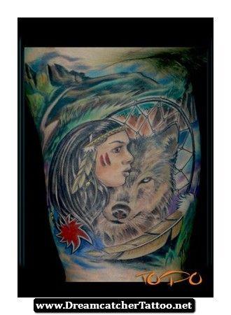 Indian Wolf Dreamcatcher Tattoo 08 - http://dreamcatchertattoo.net/indian-wolf-dreamcatcher-tattoo-08/