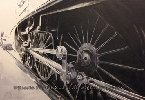 """Union of South Africa wheels"" drawing  - A4 size print £20. - A3 size print £40. - LNER Class A4 4488 steam locomotive (BR 60009) Designed by Sir Nigel Gresley and built in 1937.  Pictured here in the engine shed when she visited East Lancashire Railway in 2014.  Please note that you are buying a Limited Edition print of my drawing, not the original  Prints will be signed, numbered and professionally mounted."