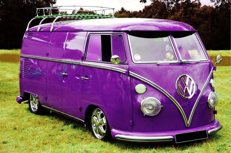 Purple VW Panel Van with chrome wheels