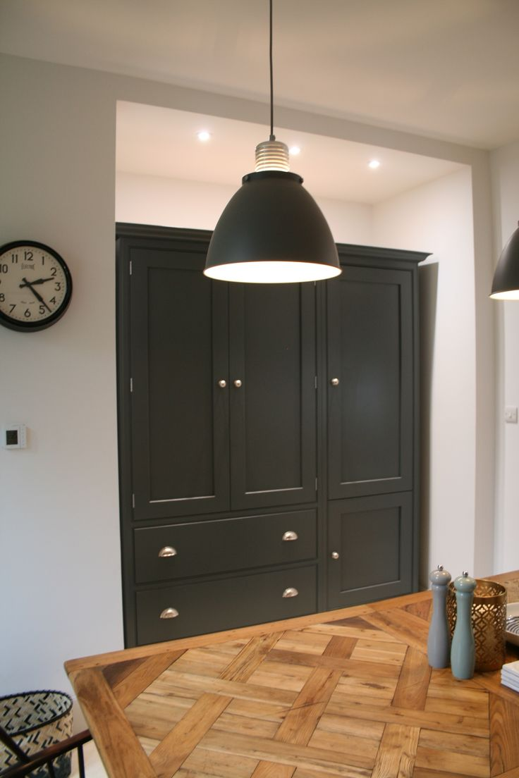 Tall cabinets in kitchen by Aberford Interiors painted in Farrow and Ball Downpipe