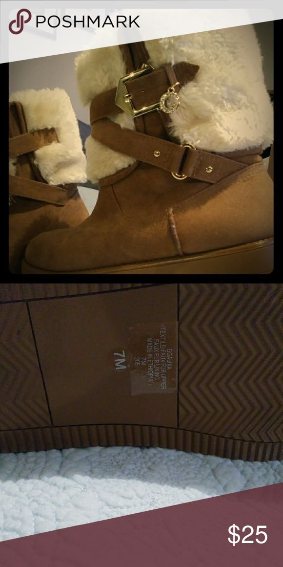 Guess boots Never been worn tan with white fur Guess Shoes Ankle Boots & Booties