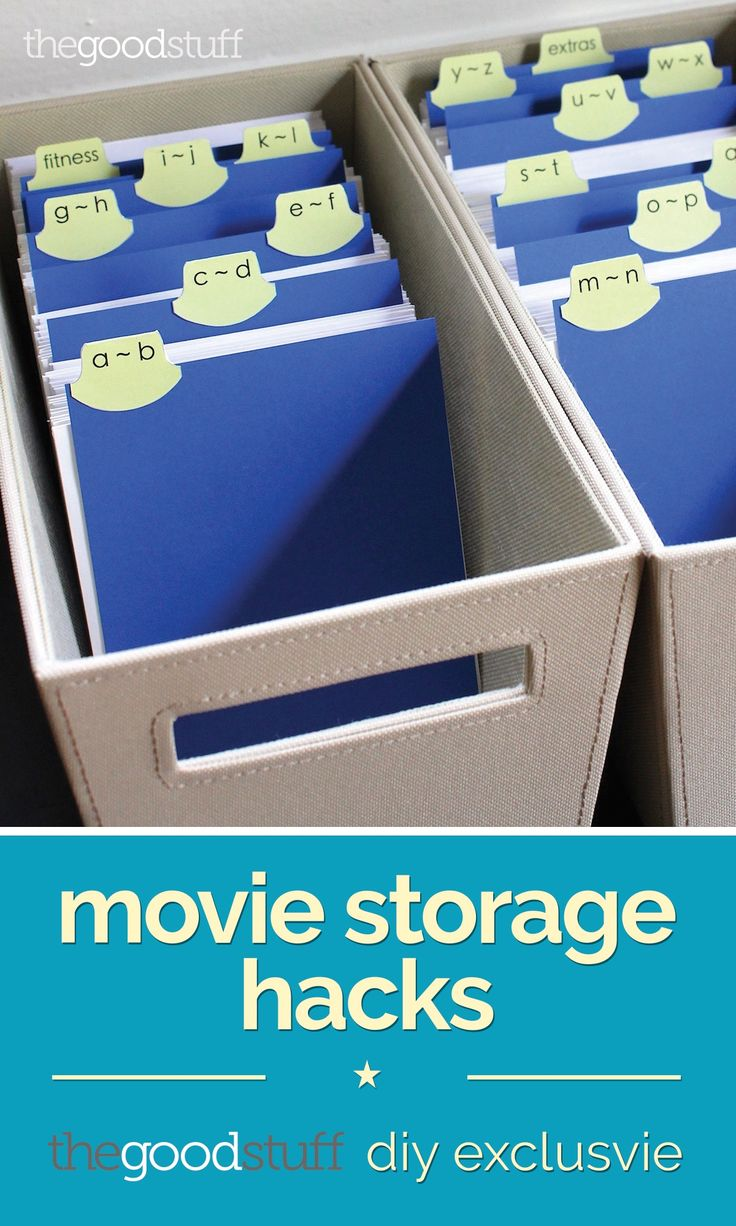 With this simple hack (and the addition of DIY dividers), your movie collection can go from several shelves to small, easily stored totes!