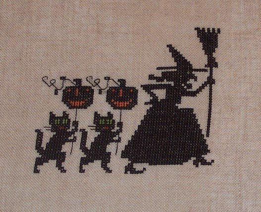 Completed Cross Stitch Witch Black Cats by jackwabbitprimitives