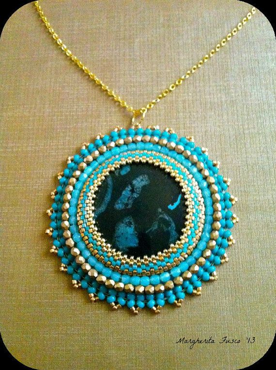 692 best obvn kamen a rivoli images on pinterest beading ooak bead embroidery pendant with nipomo fossil as focal bead aloadofball Image collections