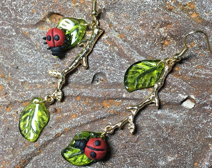 Love Bug, Ladybug Jewelry, Gardener Jewelry, Long Dangle Earring, Mismatch Earring, Mother Daughter Jewelry, Odd Earring, Mother Earring