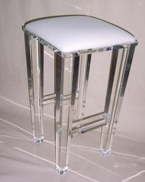 Acrylic Lucite Furniture - Chairs and Barstools. SO beautiful.  What a great way to add sparkle & glamour to your kitchen!
