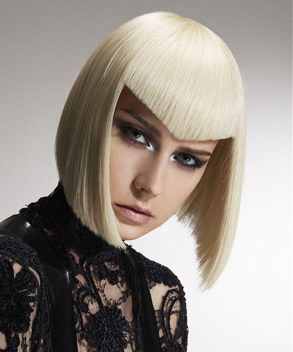 Medium Blonde straight poker-straight v-cut fringe defined-fringe platinum womens haircut hairstyles for women #WomensHaircutsInspireMe