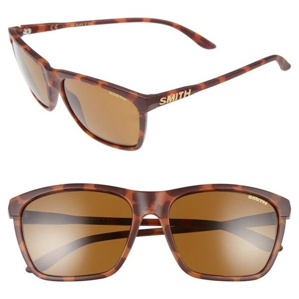 Women's Smith Optics Delano 57Mm Sunglasses (£105) ❤ liked on Polyvore featuring accessories, eyewear, sunglasses, matte tortoise, etched glasses, logo sunglasses, smith optics and smith optics sunglasses