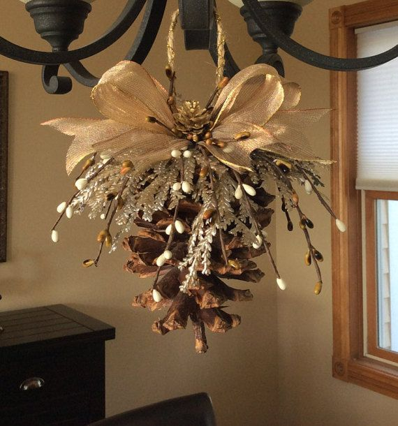 Pinecone ornament, natural pinecone, nature craft, Christmas ornament, holiday ornament, handmade ornament, Christmas decor, rustic ornament