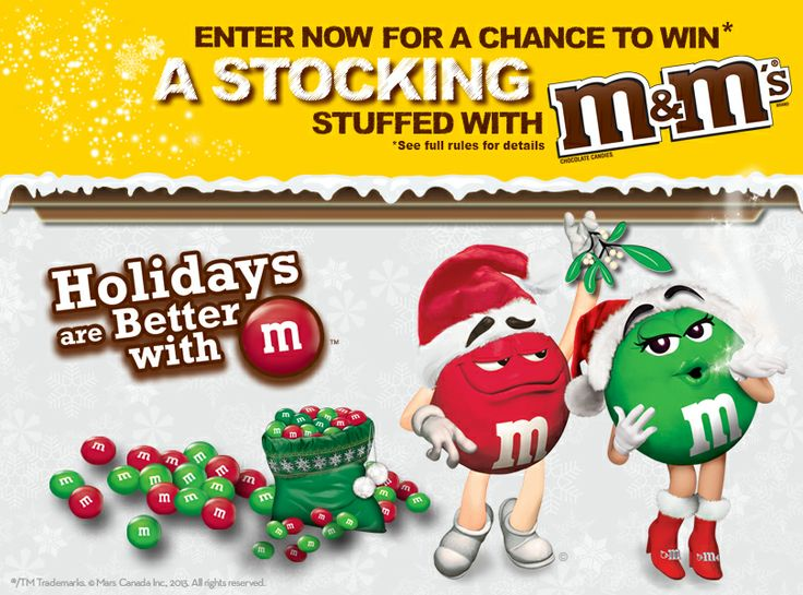 Check out the M&M'S® Holiday Sweepstakes. Enter for a chance to WIN* 1 of  54 Stockings stuffed with M&M'S Candies!