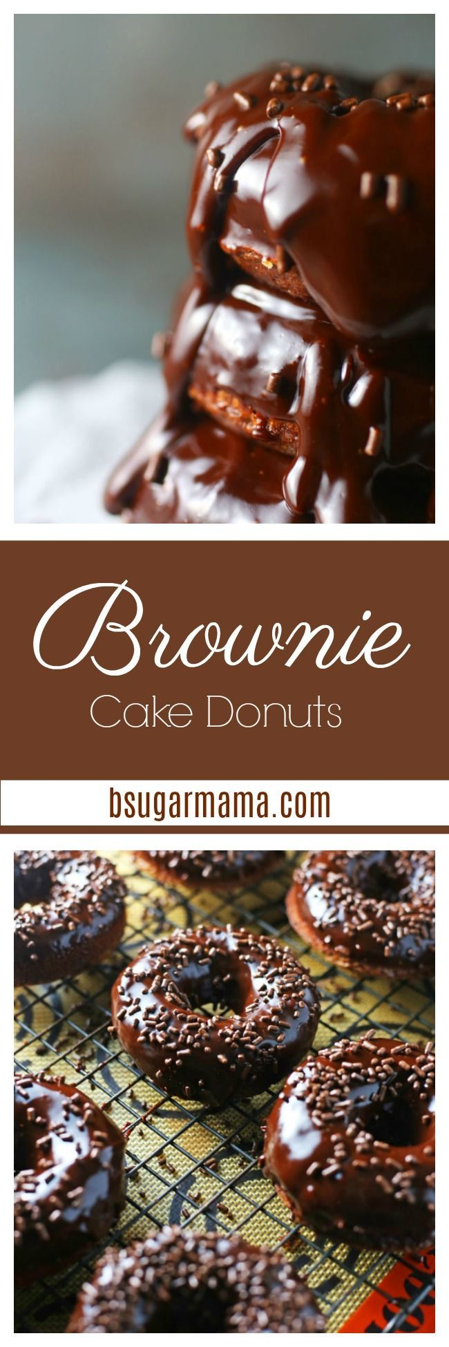 You will enjoy these Brownie Baked Cake Donuts with Chocolate Glaze to start your day! Using box brownie mix and an easy chocolate glaze recipe. #chocolate #donuts #brownies