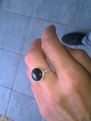 Black onyx sterling silver ring Geometric minimalist design