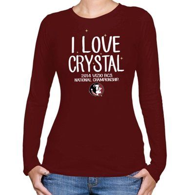 Florida State Seminoles (FSU) 2014 BCS National Championship Game Bound Ladies I Love Crystal Long Sleeve T-Shirt - Garnet