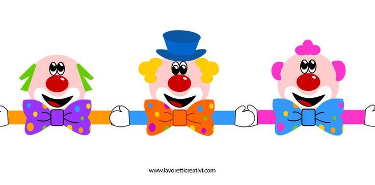 Festone di Carnevale con tre pagliacci che si tengono per mano.