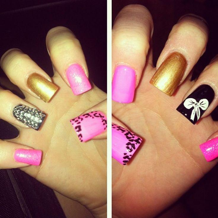 Pink And Gold Acrylic Nail Art