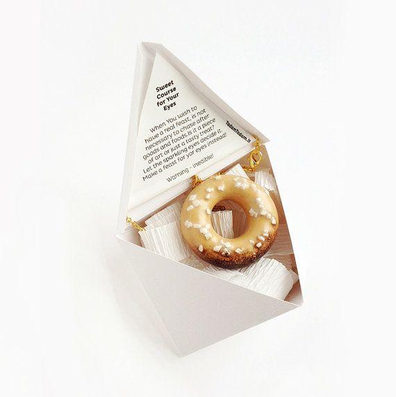 Handmade Ceramic Food Jewellery Vanilla Donut with by TADAMdesign