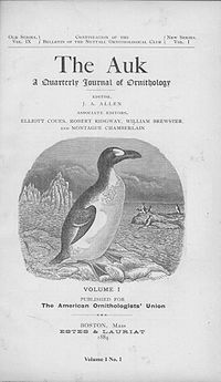 The Auk: Ornithological Advances is a weekly peer-reviewed scientific journal and the official publication of the American Ornithological Society (AOS). It was established in 1884. The journal covers the anatomy, behavior, and distribution of birds. It is named for the great auk, the symbol of the AOU. The journal is published by the American Ornithological Society]].