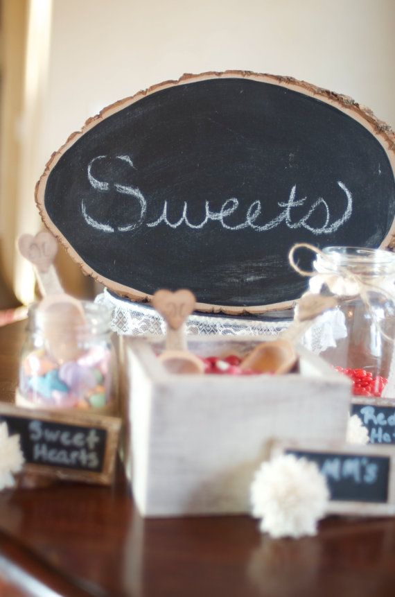 Rustic Wedding Chalkboard signs! This would be super easy Julie to put all your sayings on. Chalk paint is suppose to be sole to make.