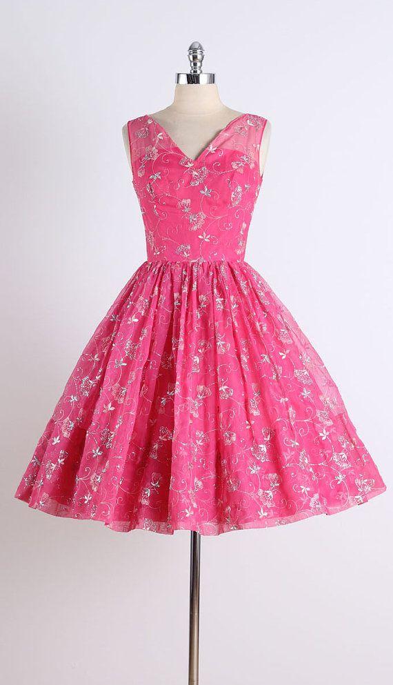 vintage 1950s dress . pink chiffon . silver by millstreetvintage